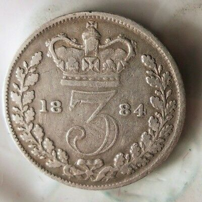 1884 GREAT BRITAIN 3 PENCE - EARLY DATE - High Quality Silver Coin - Lot #616