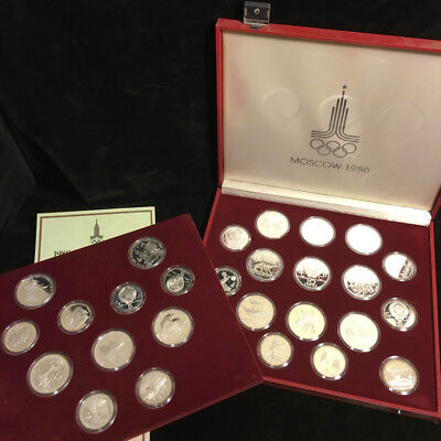 1980 Moscow Olympics 28 Silver coin set USSR 5 & 10 Roubles
