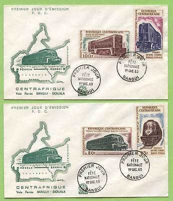 Central African Republic 1963 Trains set on two First Day Cover
