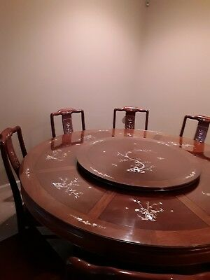 "Chinese Dining Table 72"" Vintage Hand Carved Rosewood,Mother Of Pearl decoration"