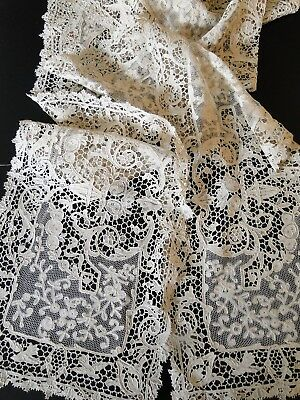Antique Lace- Ornate Bobbin And Needle Lace Table Runner W/urns,florals,birds