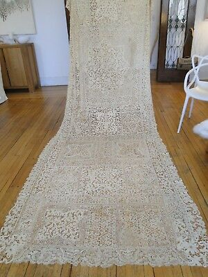 """Antique Lace-Rare Early  Milanese 218"""" Handmade Lace Banquet Tablecloth"""