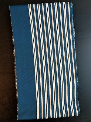 Vintage Japanese Blue-Green White and Yellow Striped Linen/Cotton Hanhaba Obi fo