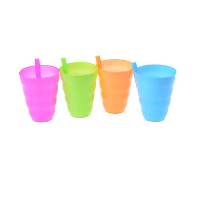 Kids Children Infant Baby Sip Cup with Built in Straw Mug Drink Solid FH