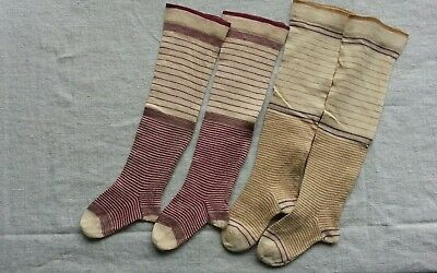 Antique Victorian Doll or childs cotton socks 2 pr.
