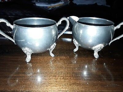 Vintage silver plated creamier/milk and sugar bowl
