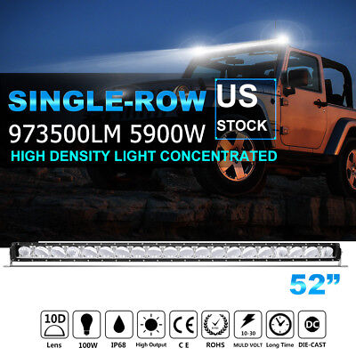"""CREE 52"""" Inch 5900W LED Light Bar DRL Laser Flood Spot OFFROAD SUV For FORD JEEP"""