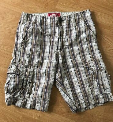 LEVI Mens Plaid Cargo Shorts 30 x 11 Very Good Condition