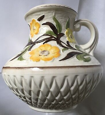 Vintage Jacobean H J Wood England vase with yellow flowers
