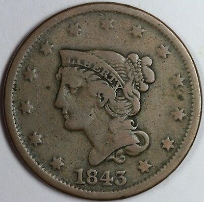 1843 1c Petite Head, Rev of '42 Braided Hair Large Cent UNSLABBED