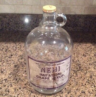 Nehi Soda Advertising,1 Gallon Grape Syrup Bottle With Paper Label, Hard To Find