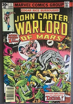 John Carter Warlord of Mars #1 (Jun 1977, Marvel) Great Condition