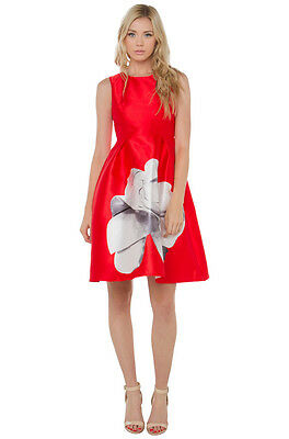 5bda631cfcd8 AKIRA BLACK LABEL Outlines Floral Dress Tomato Red Size Small ...