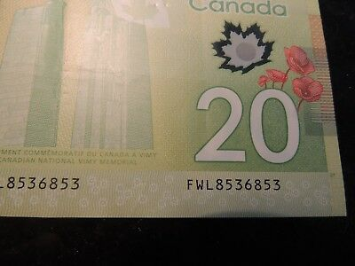 2012 Bank Of Canada $ 20 Twenty Dollars Polymer Repeater Fwl 8536853