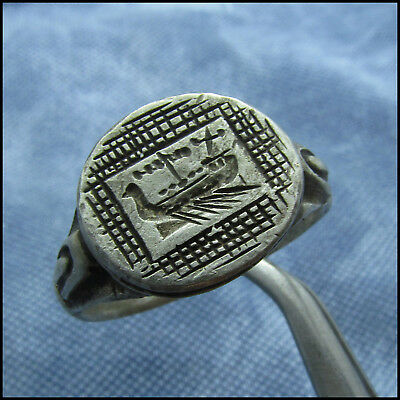 >  Military Galley <  Ancient Legionary Roman Silver Ring!!!!