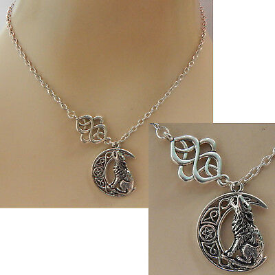 Wolf Moon Necklace Silver Jewelry Handmade Celtic Fashion Chain Pendant Women