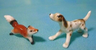 Vintage Miniature Tiny Fox & Hound Hunting Dog Figurine Set of 2 Each 1""