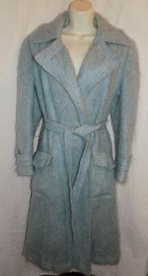 VINTAGE PRIMROSE 100%  WOOL MOHAIR SAXONIA WRAP COAT tie belt  made in ENGLAND