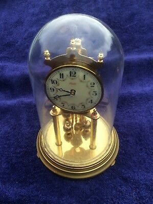 LARGE VINTAGE GERMAN KUNDO ANNIVERSARY TORSION CLOCK with Glass Dome