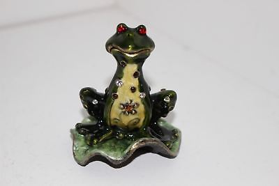 Enamel Over Metal Hinged Figural Trinket Box-Frog On Lily Pad