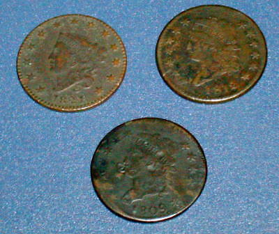 Three CLASSIC HEAD 1809 1812 1821 LARGE CENT 1c Copper U.S. Coins
