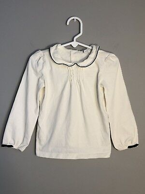 "Janie and Jack - Girl's White & Black Long Sleeve, Bows ""Pintucked"" Top 3T"