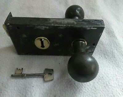Vintage Pair Of Reclaimed Cast Iron Door Knobs Handles & Rimlock With Key