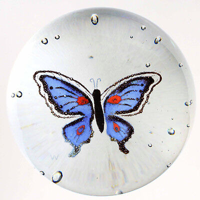 Signed Fred Wilkerson Blue Frit Butterfly