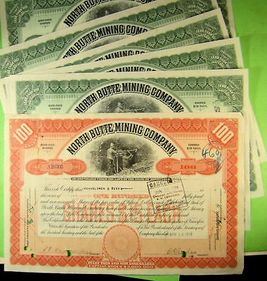 Six stock certificates on North Butte Mining Co.  Nice Vignette hard rock miner