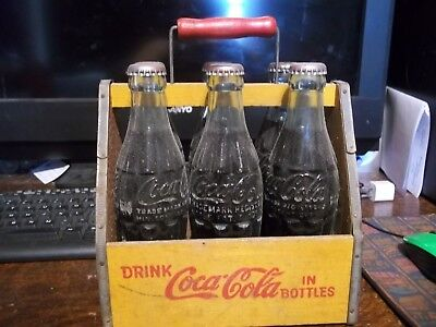 Coca Cola Wooden Carrier with Full Bottles