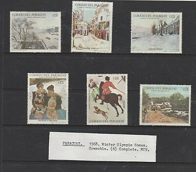 Paraguay 1968. Winter Olympic Games Grenoble. Set of 6 Mint Unhinged Stamps.