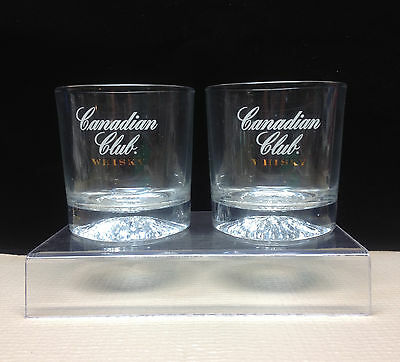 "2 Canadian Club ""Whisky"" Glasses White Gold Starburst Bottom Whiskey Set"