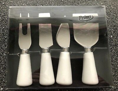 Primo 4 Piece Antipasto Set White Ceramic Stainless Steel Cheese Pate Fork Knife
