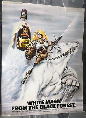 Rumple Minze 100 Proof Peppermint Schnapps / 1980's White Magic Poster Man Cave