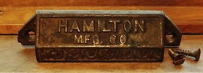 Antique Hamilton Mfg Ornate Cast Iron Printer Drawer Pull