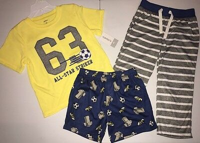 NWT 3 Piece Pajama Set Boy's Carter's Size 4T shorts pants top All Star Soccer