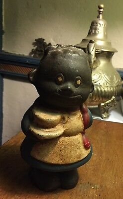 Cast Iron Little Girl W/Coffee Cup Heavy Antique Black Americana Still Coin Bank