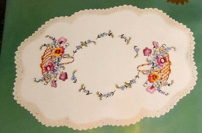 Kit Linen Doily Table Centre Pansy Basket Flowers Traced Printed Embroidery New