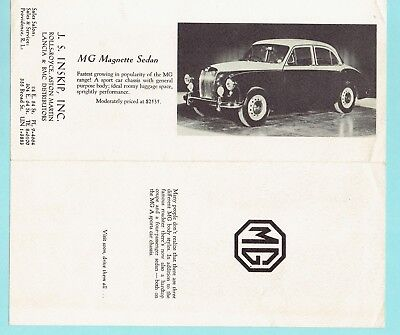 Mg Roadster Coupe Magnette Sedan Vintage J. S. Inskip Inc. Advertising Brochure