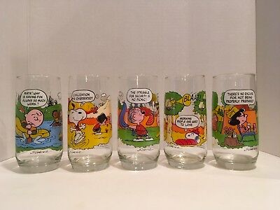Mcdonald's Camp Snoopy Charlie Brown Drinking Glasses Complete Set Of 5