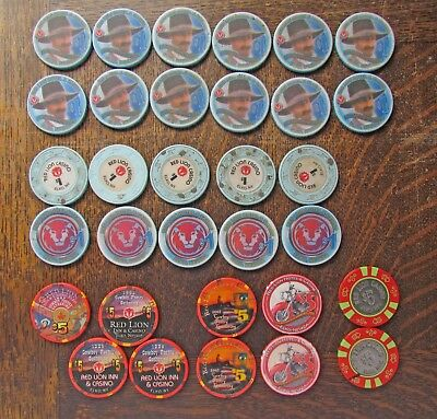 Large Lot Red Lion Casino, Elko NV $1, $5 Casino Chips, Cowboy Poetry Gathering