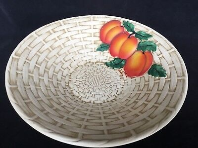VINTAGE 50's 60's Ceramic SHAW & SONS Burlington Ware PEACH BASKETWEAVE BOWL