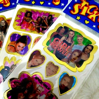 Spice Girls Stickers New Deadstock Vintage 90s Lot Of 4 Sheets Shiny Iridescent