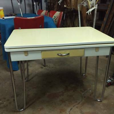 Vintage 1947 Enamel Kitchen Extension Table, Chrome Hair Pin Legs. Milwaukee