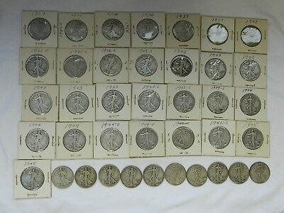 Lot of 39 Silver Walking Liberty Half Dollars, Great start to a collection! LL#2