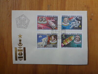 Vintage Mongolian Space Set Of 4 Stamps First Day Cover
