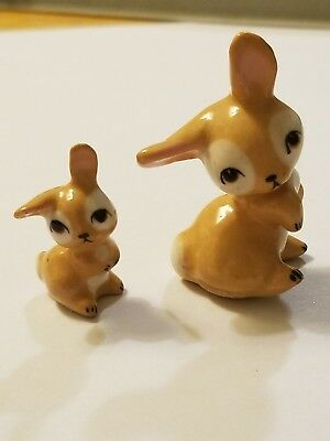 Vintage Miniature Ceramic Tan Bunny & Rabbit Figurines Hagen Renaker?