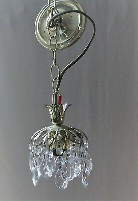 Vintage French Style Crystal Chandelier Gilded Pendant Ceiling Light Fixture