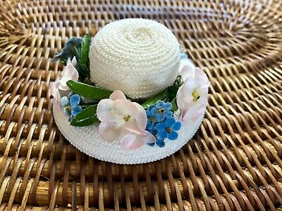 """Vintage 1950's Madame Alexander 10"""" Cissette Straw Picture Hat with Roses - MINT"""
