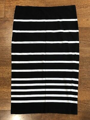 French Connection Fcuk Striped Black White Tube Pencil Skirt Size 12